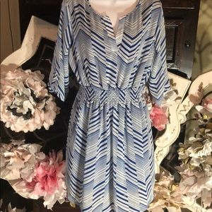 Royal Blue and white fully lined dress 3/4 sleeves